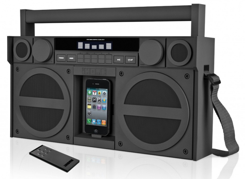 ... style the ihome boombox speaker docks your ipod or iphone and plays