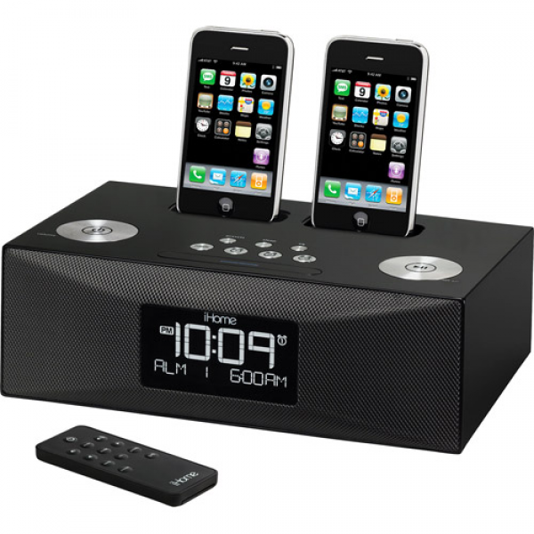 iHome Dual Dock Alarm Clock Radio for iPhone/iPod