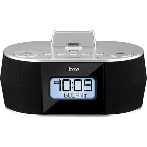 Stereo FM Clock Radio - Black/Silver - iHome - Dual Charging Stereo FM ...