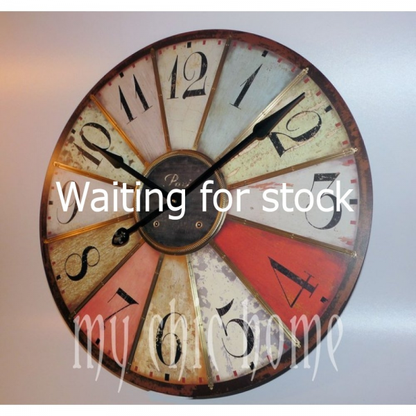 Huge Vintage Coloured Wall Clock | Retro | Novelty | Shabby Chic ...