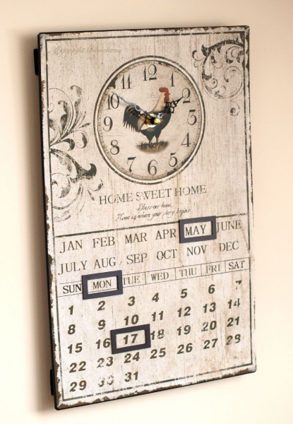 Rooster Wall Clock & Calendar - Shabby & Chic Distressed Vintage ...