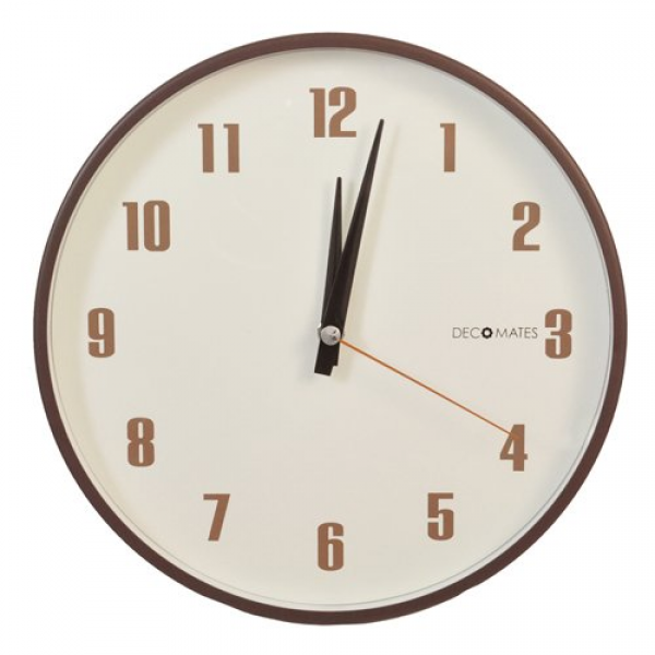 DecoMates Non-Ticking Silent Wall Clock, Retro, Brown