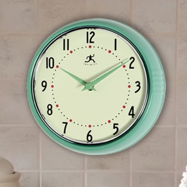 Infinity Instruments-Green Round Metal Retro 9.5 in. Wall Clock ...