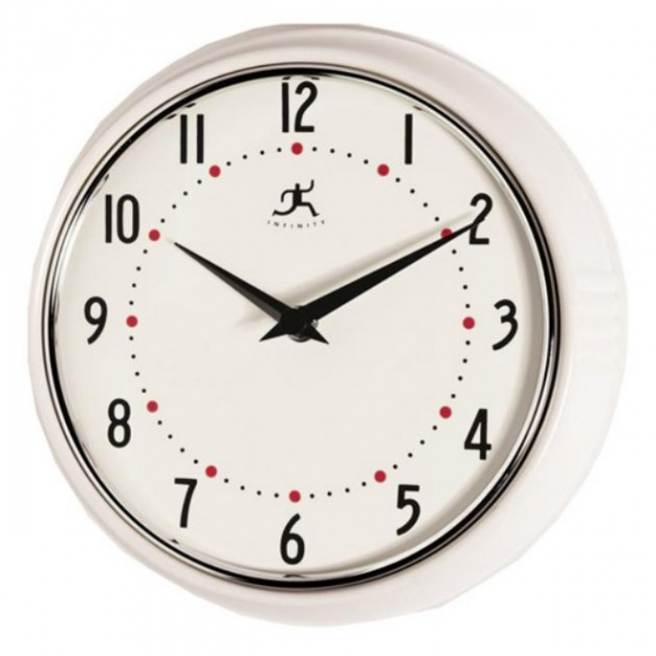 Infinity Instruments-White Retro Round Metal 9.5 Inch Wall Clock