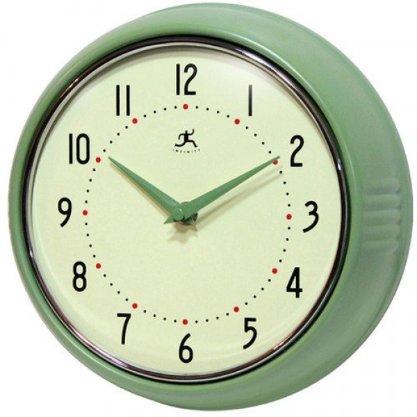 Infinity Instruments Retro Round Metal Wall Clock In Green