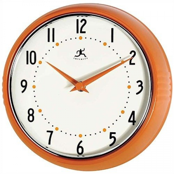Infinity Instruments Retro Round Metal Wall Clock In Orange: Decor ...