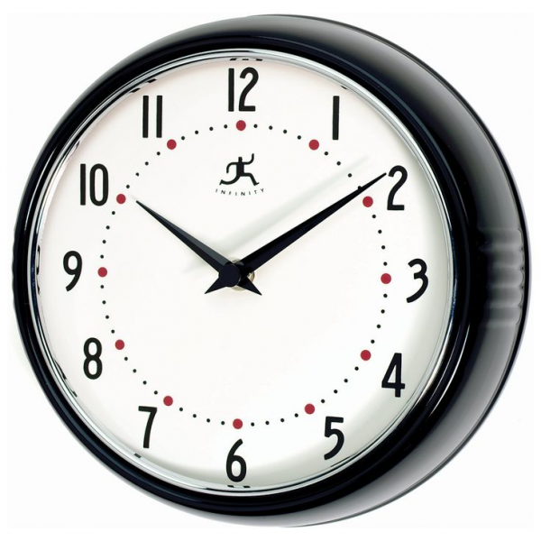 Infinity Instruments-Black Round Metal Retro 9.5 Inch Wall Clock | www ...