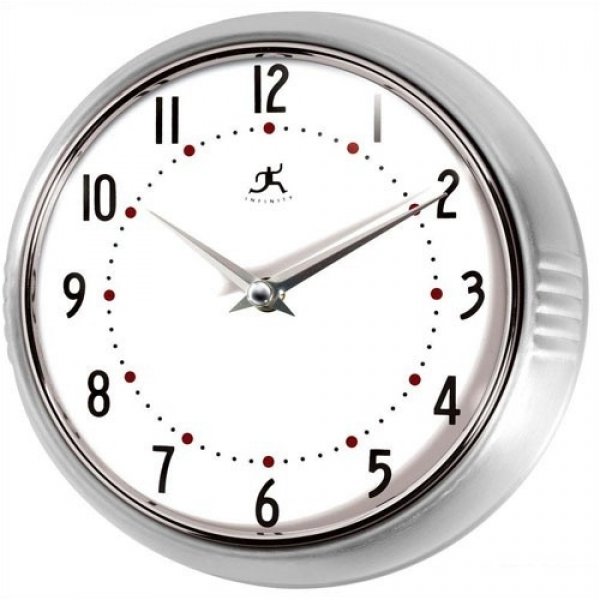 Infinity Instruments Retro Round Metal Wall Clock in Silver 10940 SV ...