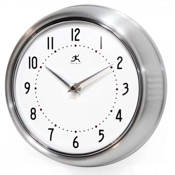 ... Retro Silver Wall Clock by Infinity Instruments - Kitchen Wall Clocks