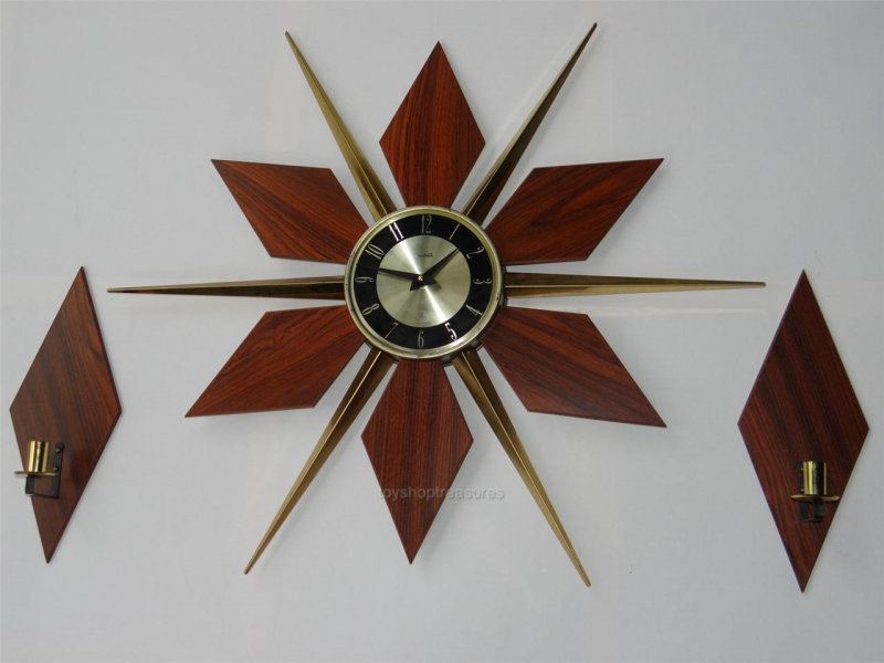... Vintage Retro SUNBURST Teak Brass CLOCK & WALL SCONCES Eames Era Clock