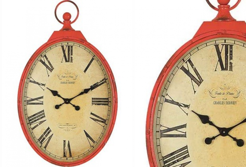 Red Clock | Pocket Watch Wall Clock Antique Farm House