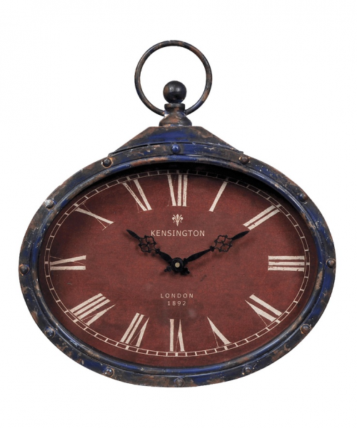 Navy Blue & Red Pocket Watch Wall Clock