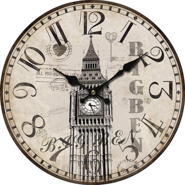 Charming Rustic Vintage Big Ben Wooden Wall Clock. Shabby Chic.