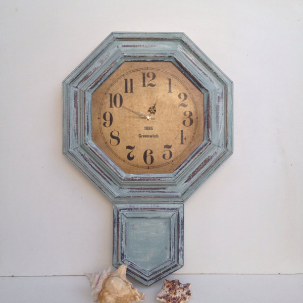 Large Rustic Blue Wall Clock Vintage Wall Clock Distressed Timepiece ...