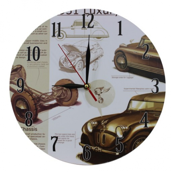 ... Decoration Vintage Style MDF Nostalgic Retro Cars Scene Wall Clock