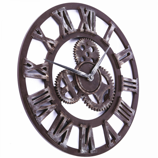 ... vintage big gear wooden wall clock large on the wall, clock with gear