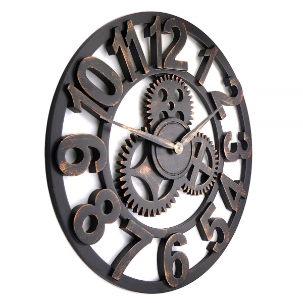 luxury vintage wooden gear wall clock large on the wall-in Wall Clocks ...