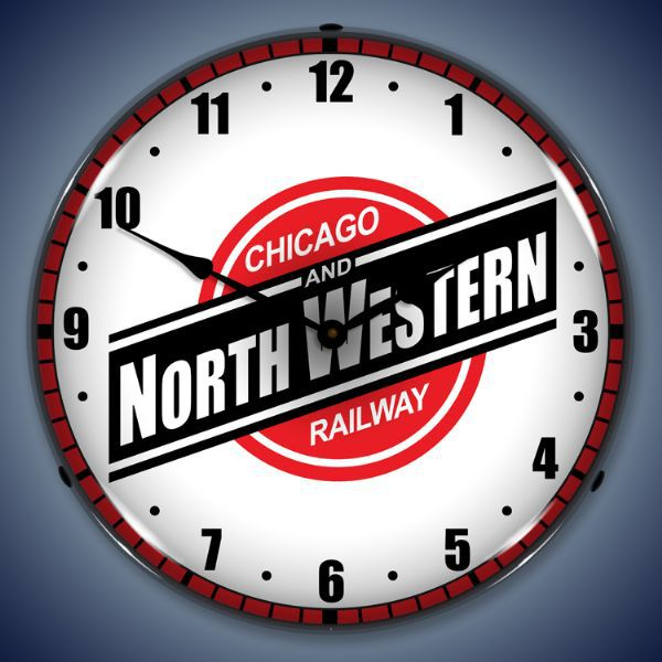 Vintage-Retro Chicago North Western Railroad Lighted Wall Clock