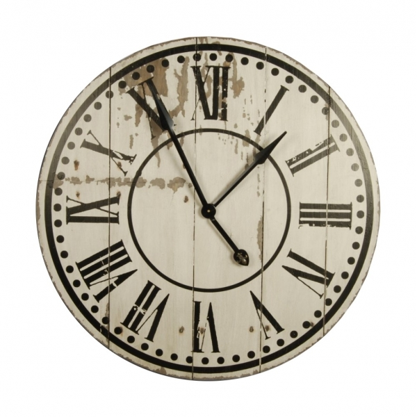 ... Clocks > Large wooden wall clock, antique white distressed finish d.82