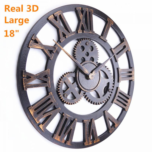 retro rustic decorative luxury art big gear wooden vintage large wall ...