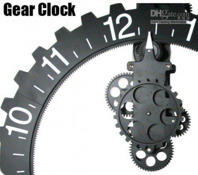 ... Modern Contemporary Mechanical Metal Steel Wall Clock & Free Shipping