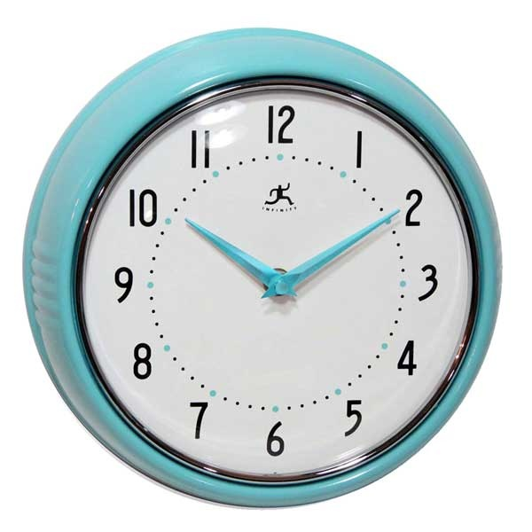 Retro Round Metal Wall Clock - Turquoise | For the Home | Pinterest