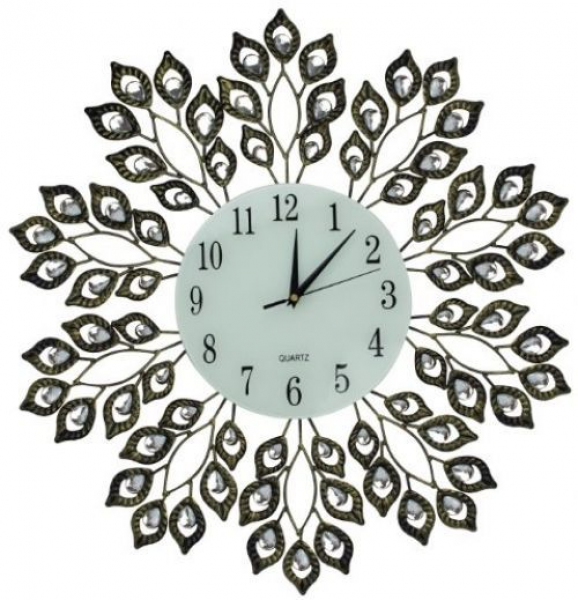 ... Leaf Metal Wall Clock, Glass Dial 9 (Antique Gold) - Wall Clocks