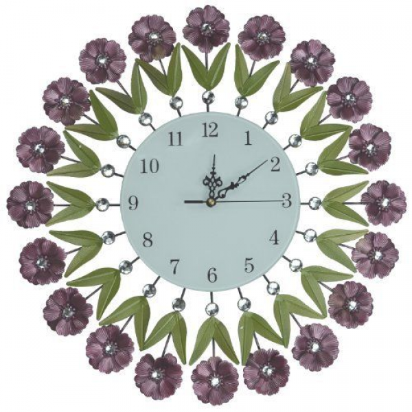 ... Flower Bouquet Wall Clock Decorative Metal Wall Clock Glass Dial W