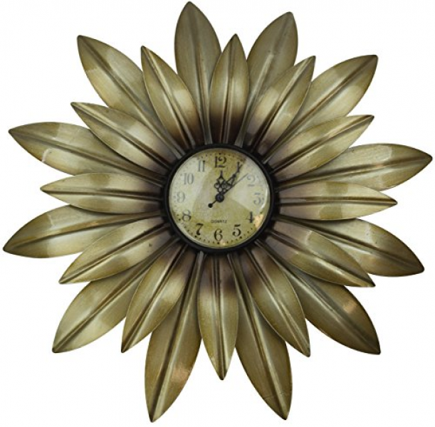 Lulu Decor Gold Daisy Wall Clock Decorative Metal Wall Clock, Frame ...