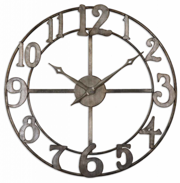... Large Round Open Frame Clock metal antiqued silver hanging wall