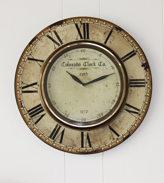 Colorado Clock Co. Gallery Round Wall Clock with Brass Rim