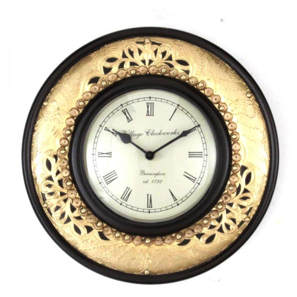 Antique Brass Embossed Round Wall Clock