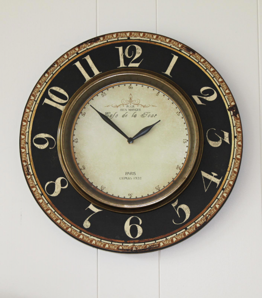 Cafe de la Tour Gallery Round Wall Clock with Brass Rim