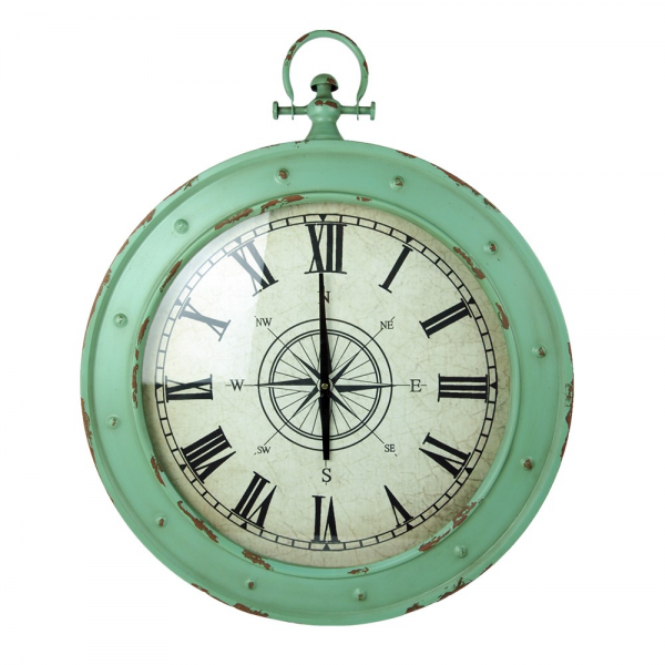 Creative Co-Op Round Metal Marine Wall Clock
