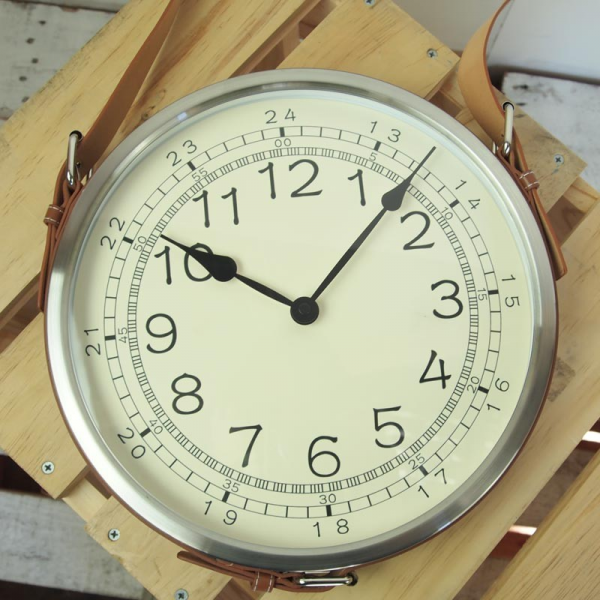 Creative Co-Op Leather Belt Metal Wall Clock