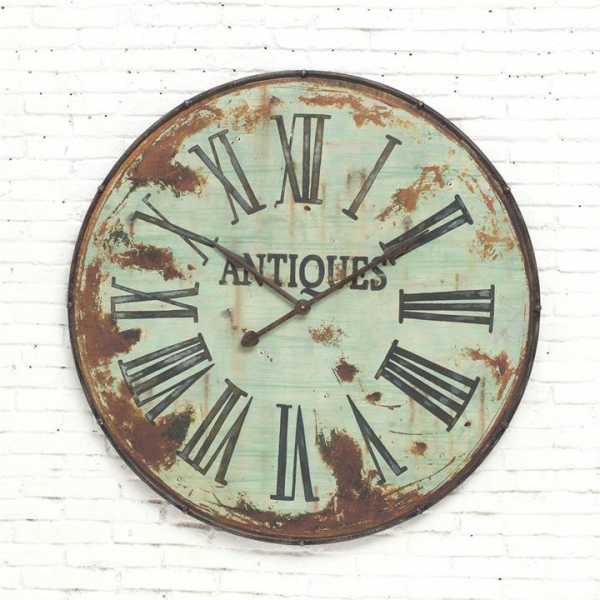 Creative Co-op Antiques Green Metal Giant Wall Clock from Elizabeth's ...