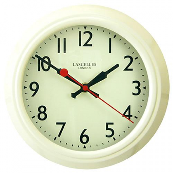 Gifts & Homeware: Clocks, Cream Retro Metal Wall Clock