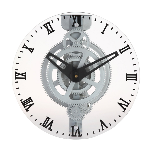 ... Roman Numeral Moving Gear Style Wall Clock with Glass Lens Clock at