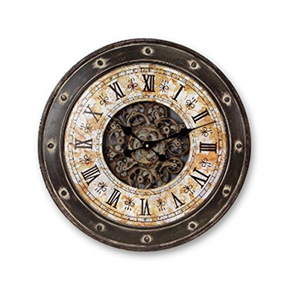 Vintage Industrial Style Wall Clock w/Moving Gears - Black/Gray ...