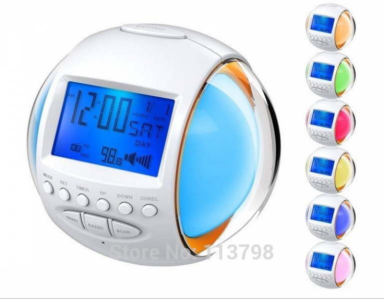 New Nature Sound FM Radio Alarm Digital Clock With 7 Color LED ...