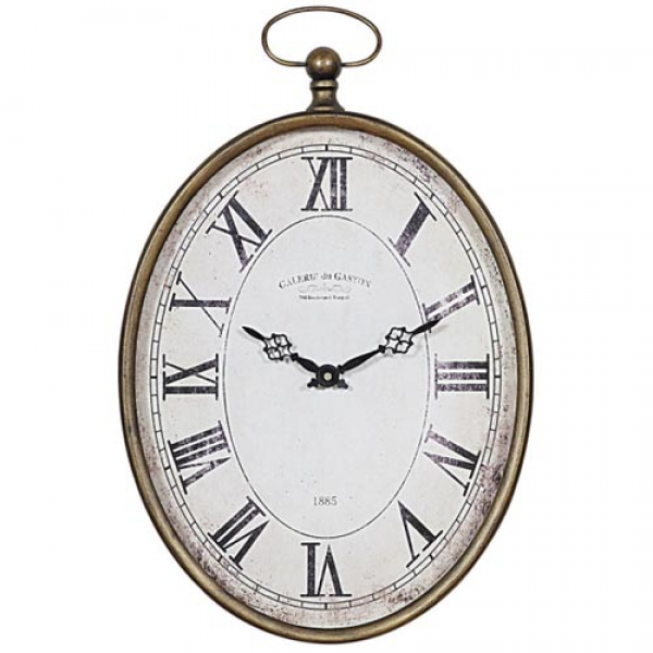 Oval Pocket Watch Style Large Wall Clock