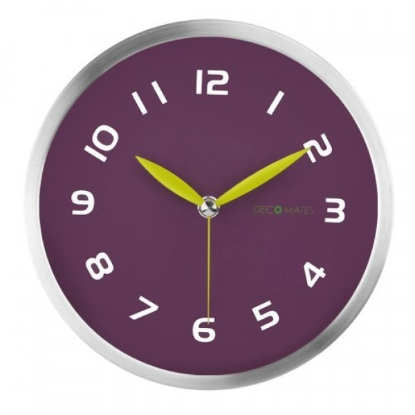 DecoMates Non-Ticking Silent Wall Clock - Early Spring (Purple Plum ...