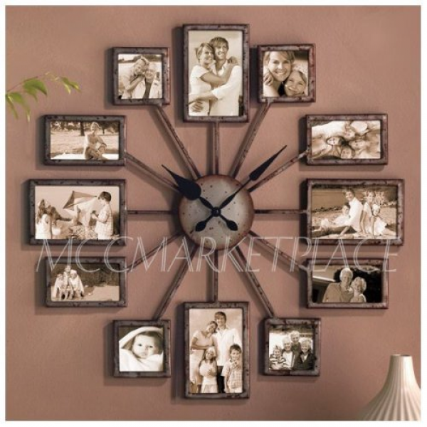 Unique Large Wall Clock Photo Family Picture Frame Art Collage - GREAT ...