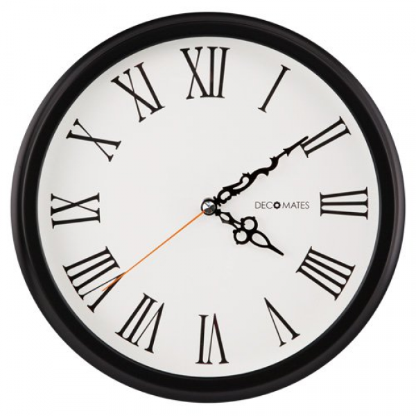 ... Clocks › DecoMates Non-Ticking Silent Wall Clock With Roman Numerals