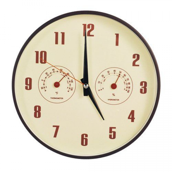 DecoMates Non-Ticking Silent Wall Clock with Built-In Thermometer ...