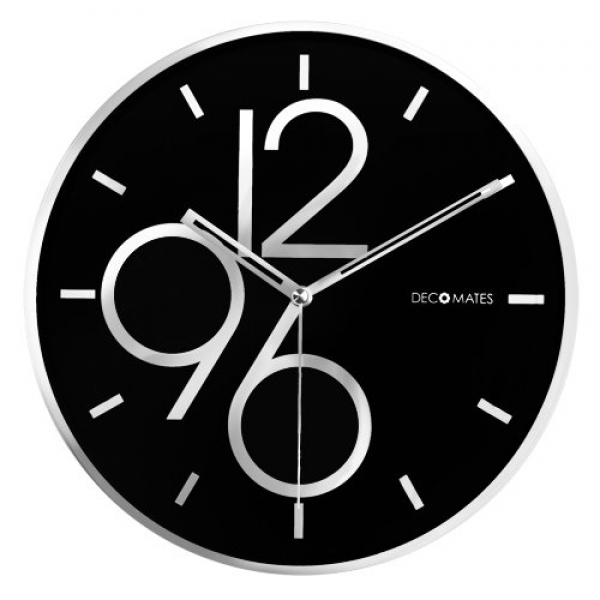 DecoMates Non-Ticking Silent Wall Clock - Sharp Shimmer (Black/Silver)