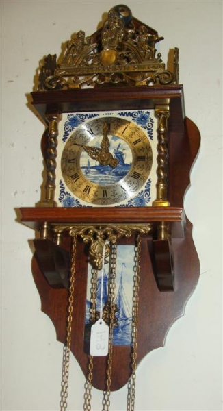 Vintage Dutch Wall Clock with Time & Strike, Chain Driven Movement ...