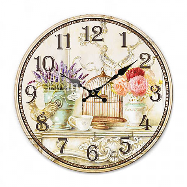 Country Floral Wall Clock - USD $ 19.99