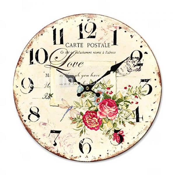 love Country Floral Wall Clock