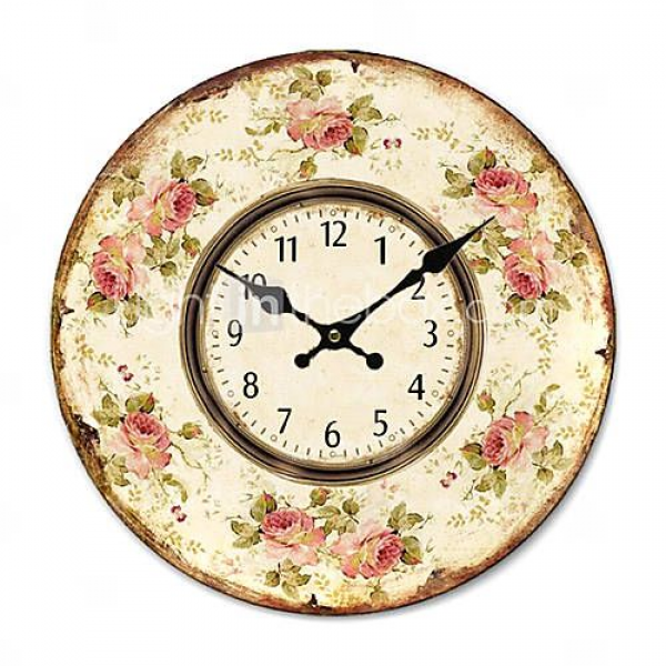 roses Country Floral Wall Clock
